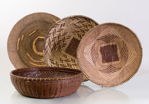 Group of Four Shallow Baskets