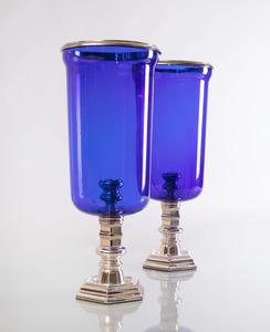 PAIR OF RALPH LAUREN SILVER PLATE AND COBALT BLUE GLASS PHOTOPHORES