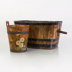 Metal-Mounted Two-Handled Wood Rectangular Bucket and a Floral-Painted Wood Cylindrical Bucket