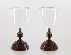 PAIR OF ENGLISH TURNED MAHOGANY CANDLESTICKS WITH HURRICANE SHADES