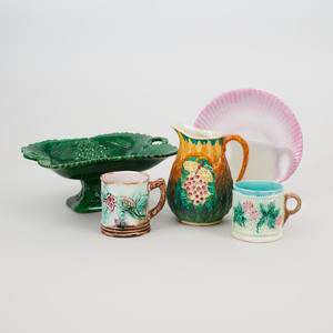 Group of Five Majolica Table Wares