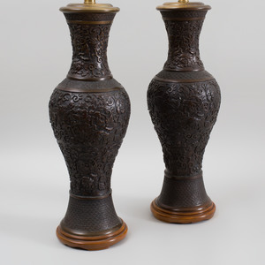 Pair of Chinese Bronze Baluster Vases Mounted as Lamps