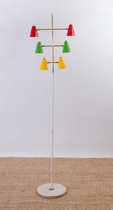 ITALIAN PAINTED METAL AND MARBLE FLOOR LAMP ATTRIBUTED TO STILNOVO