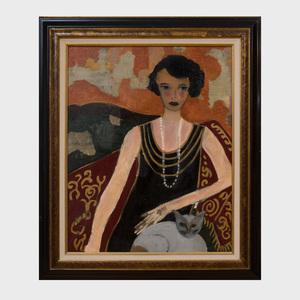 Annik La Page(b. 1943): Portrait of a Woman with a Cat