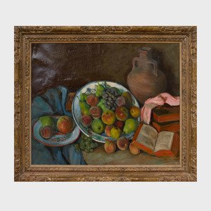 20th Century School: Still Life with Fruit and Books