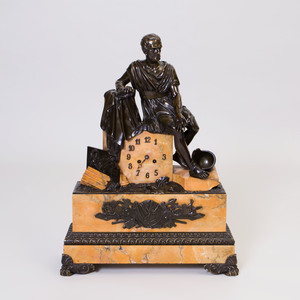 Charles X Parcel-Gilt Bronze and Marble Clock with Figure of a Roman Soldier