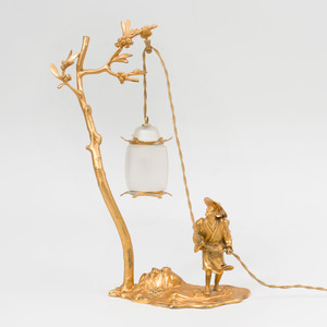 Mathieu Lustrerie Gilt-Bronze and Glass Chinoiserie Lamp
