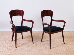 PAIR OF ART DECO STYLE MAHOGANY ARMCHAIRS