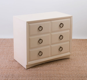 T.H. ROBSJOHN GIBBINGS LACQUER CHEST OF DRAWERS BY WIDDICOMB