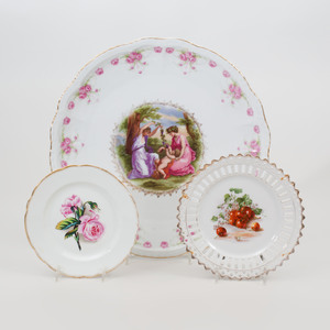 Three Continental Porcelain Plates