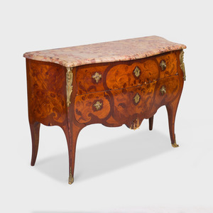 Louis XV Style Gilt-Metal-Mounted Tulipwood and Mahogany Marquetry Commode