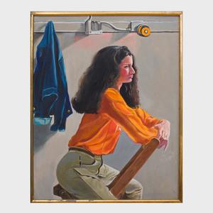 Greta Thyssen (1927-2018): Woman with Orange Shirt on Chair