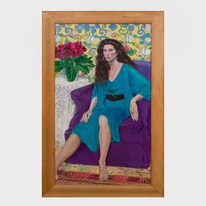 Greta Thyssen (1927-2018): Woman in Blue Dress with Gloxinia