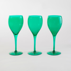 Set of Eight Bristol Green Glass Goblets