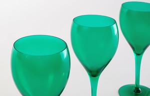 Set of Eight Bristol Green Glass Goblets