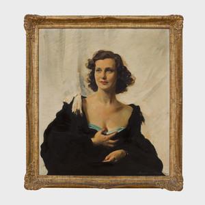 Erik Haupt (1891-1984): Portrait of a Lady in a Black Wrap
