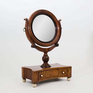 Victorian Mahogany, Ebonized and Bone Inlaid Shaving Mirror