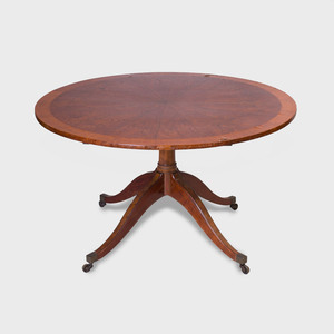 Regency Walnut, Mahogany and Burlwood Breakfast Table