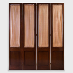 Large Directoire Style Mahogany Four Panel Screen