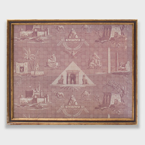 Egyptian Revival Style Linen Fabric Panel