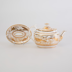 English Gilt-Decorated Porcelain Teapot, Cover, and Stand
