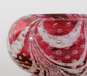 Two Pairs of Internally Decorated Glass Rose Bowls