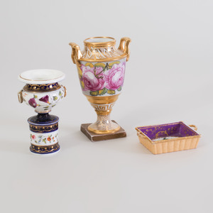Two Small English Porcelain Urns and a Basket