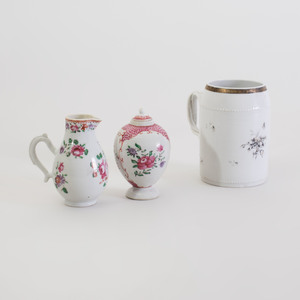 Chinese Export Porcelain Mug, Milk Jug, and a Tea Caddy and a Cover