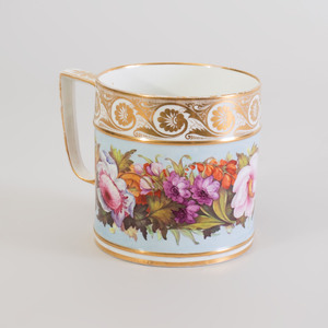 Large Derby Porcelain Blue Ground Mug Decorated with Flowers