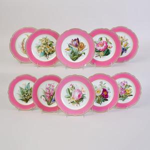 Set of Eleven Lerosey Pink Ground Porcelain Plates