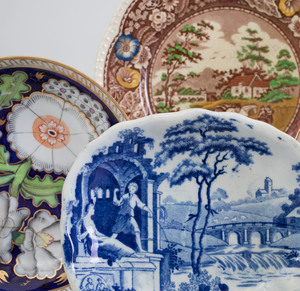Set of Four Royal Cauldron Transferware Plates, a Wedgwood Luster Plate, Three Saucers, Two Small Blue & White Dishes