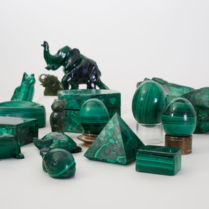 Nine Malachite Table Objects and Five Animals