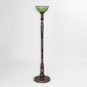 Chinese Archaic Style Cloisonné-Mounted Bronze Pole Lamp