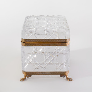 Continental Gilt-Metal-Mounted Cut Glass Table Casket