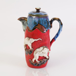 Japanese Ceramic Jug and Cover with Applied Elephants
