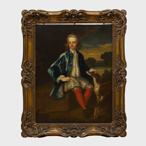 Attributed to John Vanderbank (1694-1739): Portrait of a Boy and His Dog