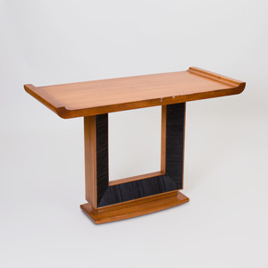 Modern Oak and Ebonized Altar Form Console, of Recent Manufacture
