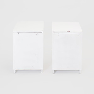 Pair of Chrome and White Lacquered End Tables