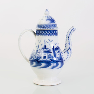 Leeds Pearlware Blue and White Footed Pear-Form Coffee Pot and Cover