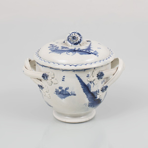 Leeds Pearlware Two-Handled Bowl and Cover