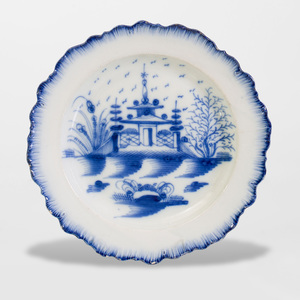 Leads Type Creamware Blue and White Plate