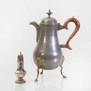 French Pewter Coffee Pot on Tripod Brass Legs and an English Silverplated Angular Baluster-Form Caster