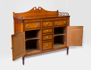 Federal Tiger Maple and Mahogany Sideboard, New England