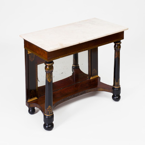 Classical Mahogany Parcel-Gilt, and Stencil Decorated Console Table, New York