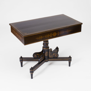 Federal Gilt-Metal-Mounted Painted and Stenciled Decorated Console Table, Baltimore