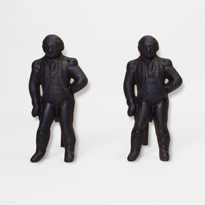 Pair of American Cast-Iron Andirons in the Form of George Washington