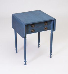 Late Federal Blue Painted Drop Leaf Work Table