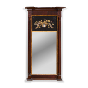 Federal Mahogany and Parcel-Gilt Verre Églomisé Reverse Glass Mirror