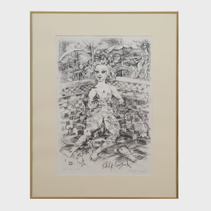 Philip Evergood (1901-1973): Cool Doll in Pool