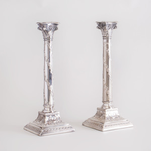 Pair of English Silver Plate Columnar Candlesticks